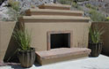 contemporary fireplace with cantera stone