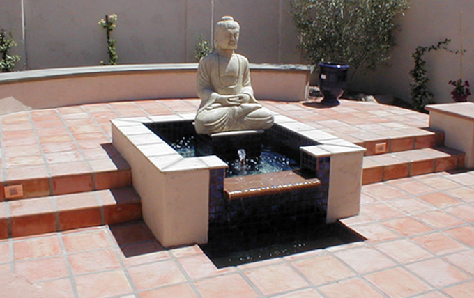 eric gilliland design – water feature with buddha and saltillo tile
